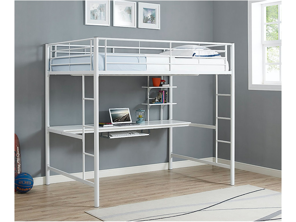 Ft Myers Youth Premium Metal Full Size Loft Bed with Wood Workstation -  White WEDBDOZWH Walter E. Smithe Furniture + Design