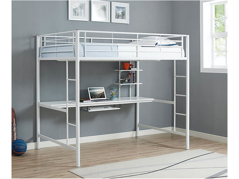 Premium Metal Full Size Loft Bed with Wood Workstation - White BDOZWH