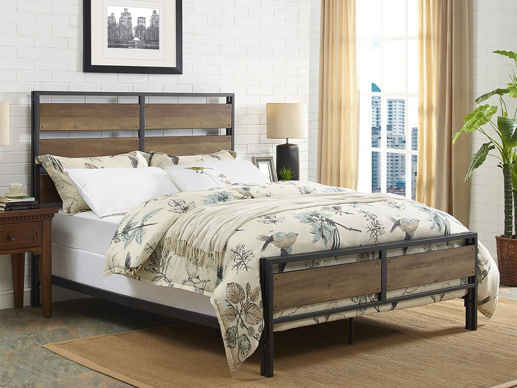 Ft Myers Bedroom Rustic Farmhouse Industrial Queen Size Metal and Wood  Plank Bed - Rustic Oak WEDBQSLRO Walter E. Smithe Furniture + Design