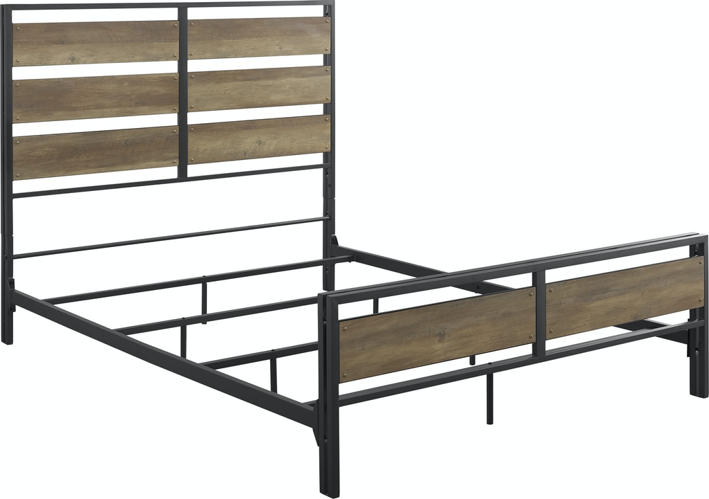 Ft Myers Bedroom Rustic Farmhouse Industrial Queen Size Metal and Wood  Plank Bed WEDBQSLRO Walter E. Smithe Furniture + Design