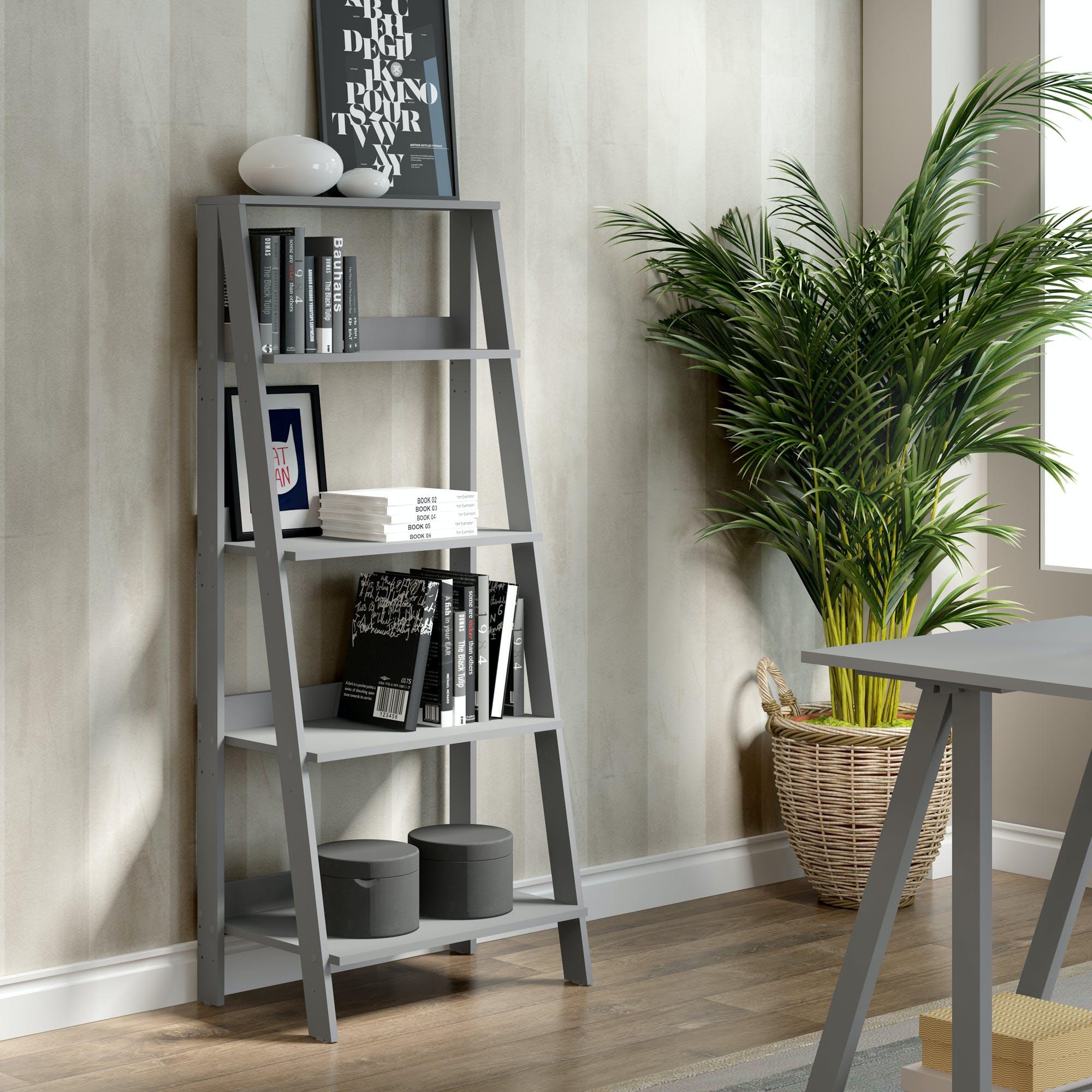 Ft Myers Home Office 55 Wood Ladder Bookshelf Wedbs55ldgy Walter E Smithe Furniture Design