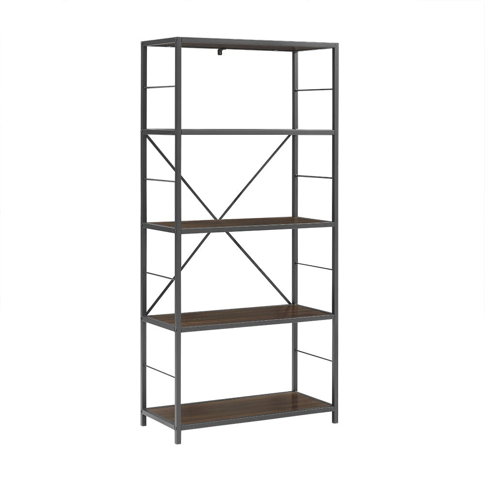 Ft Myers Home Office 63 4 Shelf Rustic Industrial Metal And Wood Media Bookcase Dark Walnut Wedbs60rmwdw Walter E Smithe Furniture Design