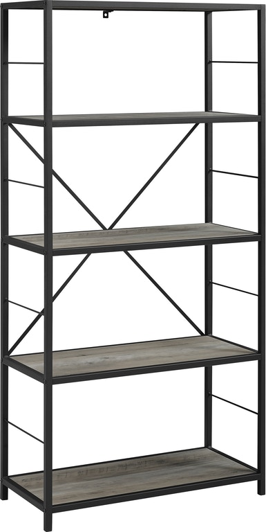 Ft Myers 60 Rustic Metal And Wood Media Bookshelf