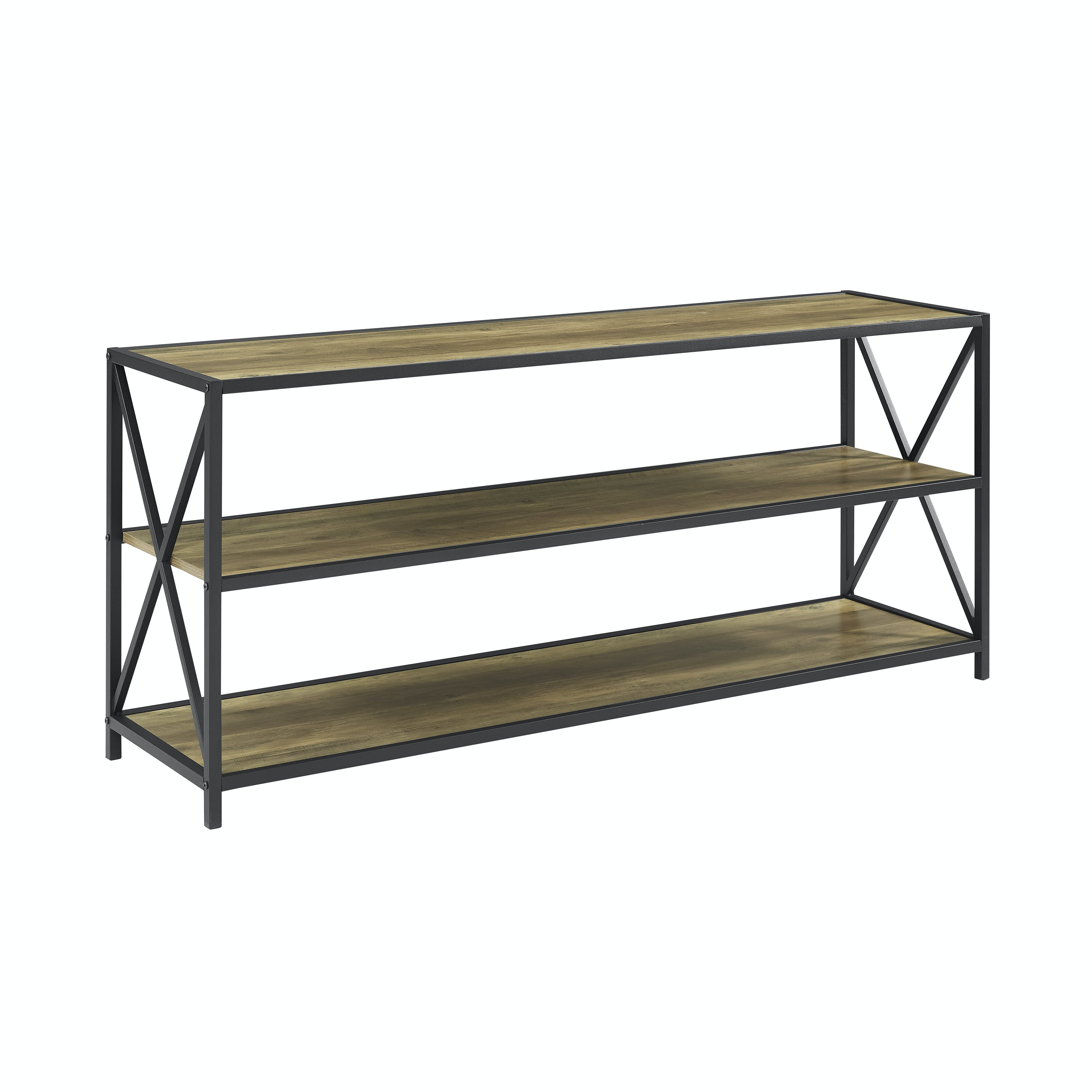 Ft Myers Home Office 60 Urban Industrial Rustic Farmhouse Industrial X Frame Metal And Wood Bookcase Rustic Oak Wedbs60xmwro Walter E Smithe