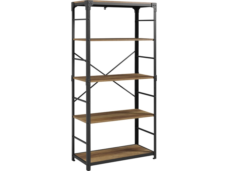 Ft Myers 64 Rustic Urban Industrial 4 Shelf Angle Iron Wood And Metal Bookshelf