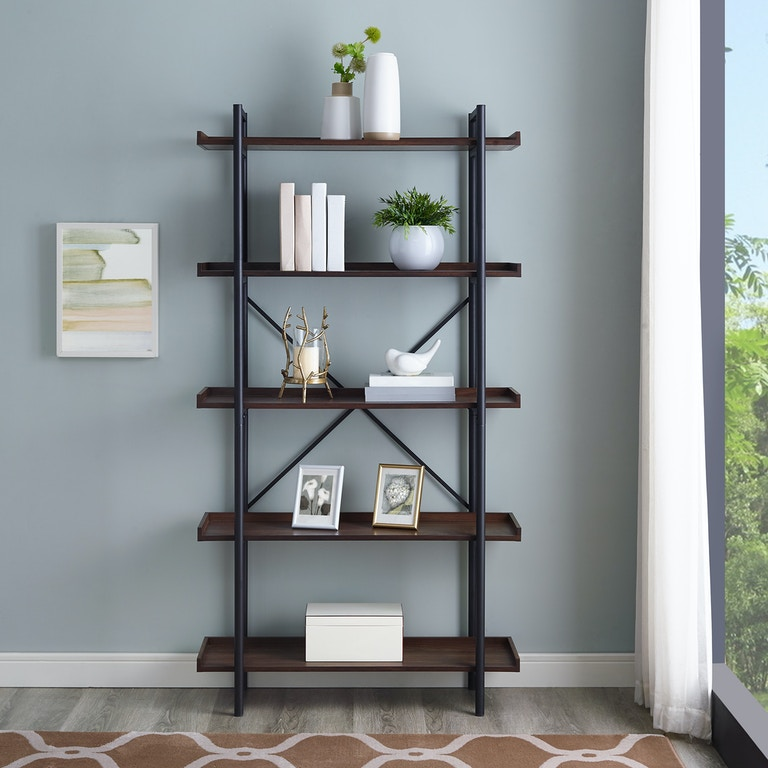 Ft Myers 68 Rustic Urban Industrial 5 Shelf Mixed Material Wood And Metal Pipe