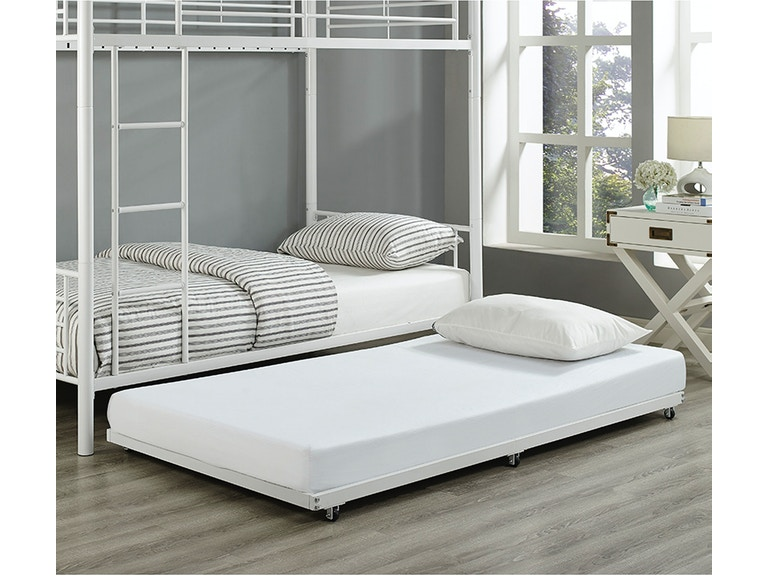 Twin Roll-Out Trundle Bed Frame - White BT40TBWH
