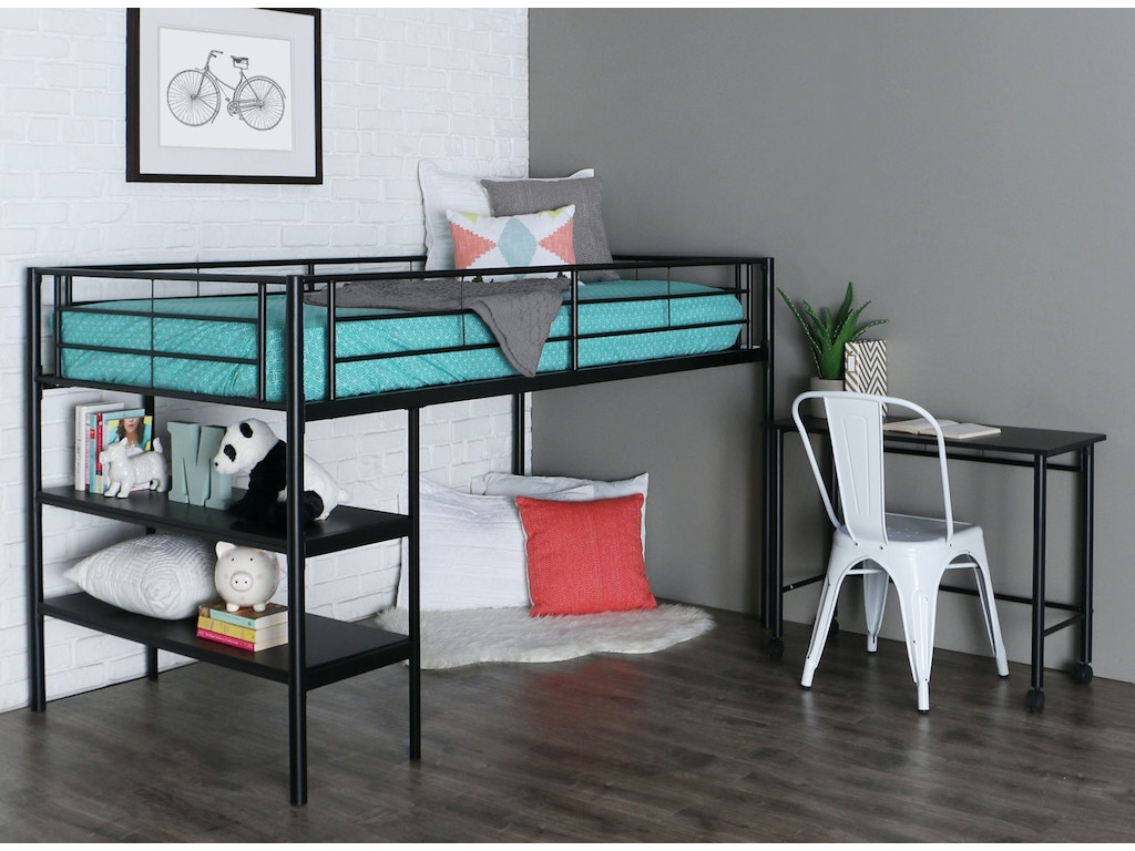 Ft Myers Youth Twin Low Loft Bed With Desk Wedbtld46spbl Walter E Smithe Furniture Design