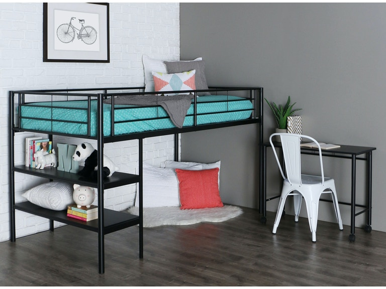 Twin Low Loft Bed With Desk Wedbtld46spbl