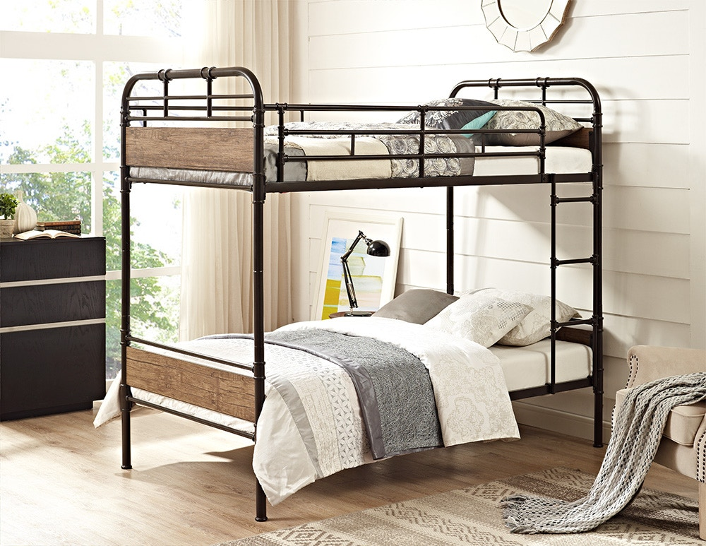 Twin Over Twin Metal Wood Bunk Bed Black Wedbtotmpbl