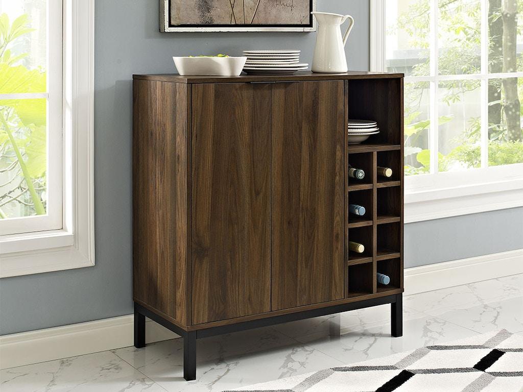 Ft Myers Modern Bar Cabinet Buffet With Wine Storage Dark Walnut Wedbu34cobcdw From Walter E
