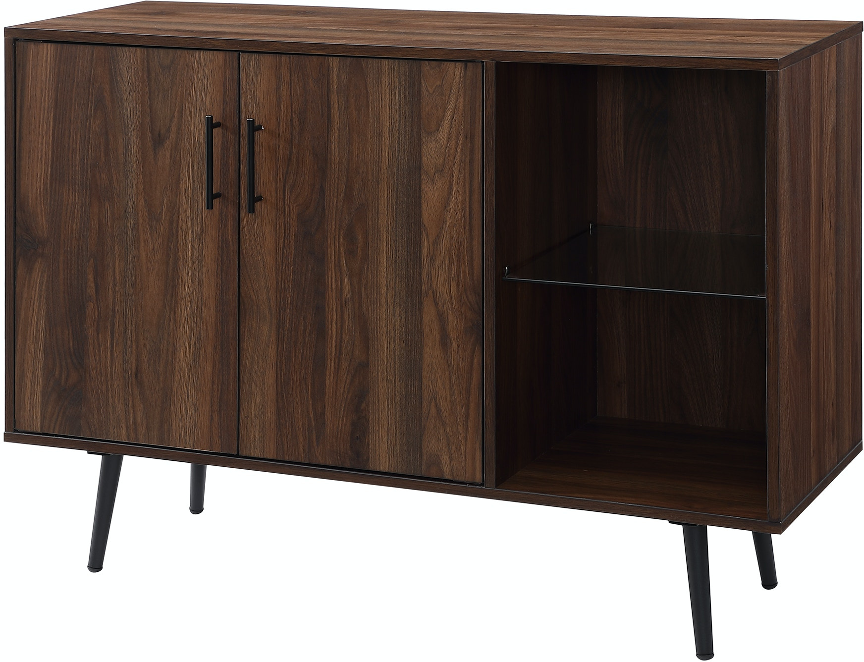 44 Mid Century Modern Transitional Asymetrical Sideboard Buffet Accent Storage Console Tv Stand Dark Walnut