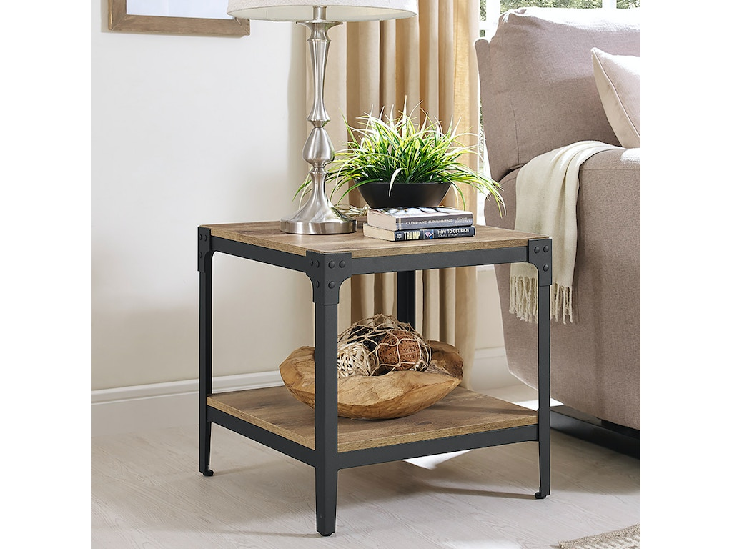Ft Myers Living Room Angle Iron Rustic Wood End Table, Set of 2  WEDC20AISTBW Walter E  Smithe Furniture + Design