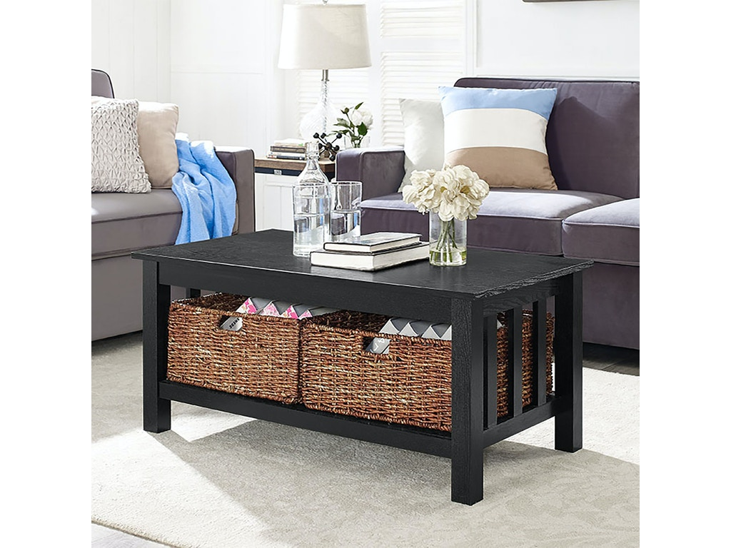 Ft Myers Living Room 40 Wood Storage Coffee Table With Totes Black Wedc40mstbl Walter E Smithe Furniture Design