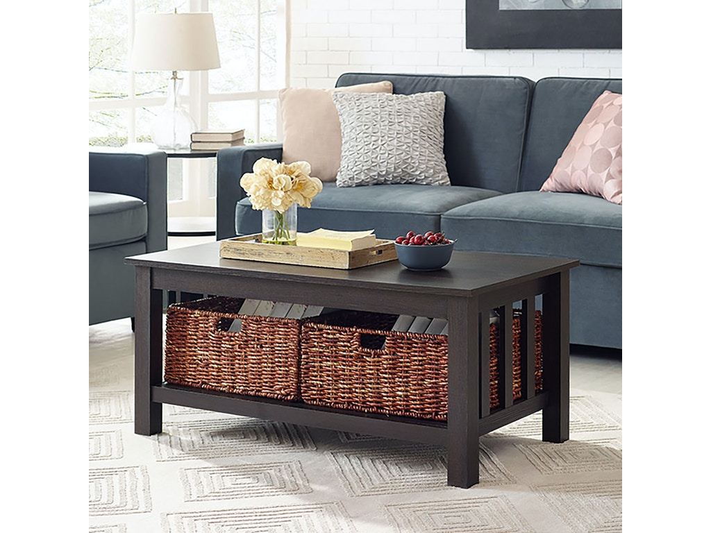 Ft Myers Living Room 40 Wood Storage Coffee Table With Totes Espresso Wedc40mstes Walter E Smithe Furniture Design