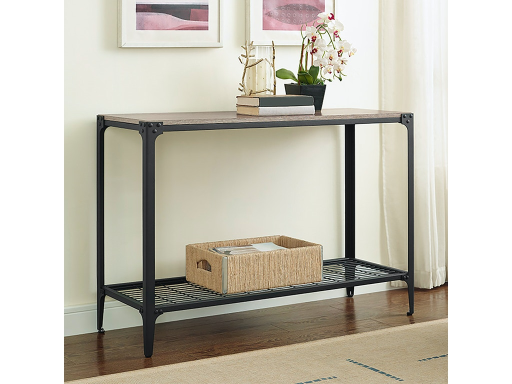 new arrival 47353 45f58 Ft Myers Living Room Angle Iron Rustic Wood Sofa Entry Table WEDC44AIETAG  Walter E. Smithe Furniture + Design