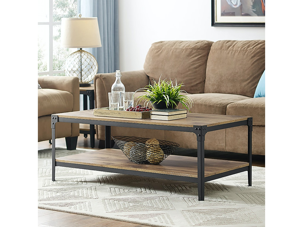 Ft Myers Living Room Angle Iron Rustic Wood Coffee Table Barnwood Wedc46aictbw Walter E Smithe Furniture Design