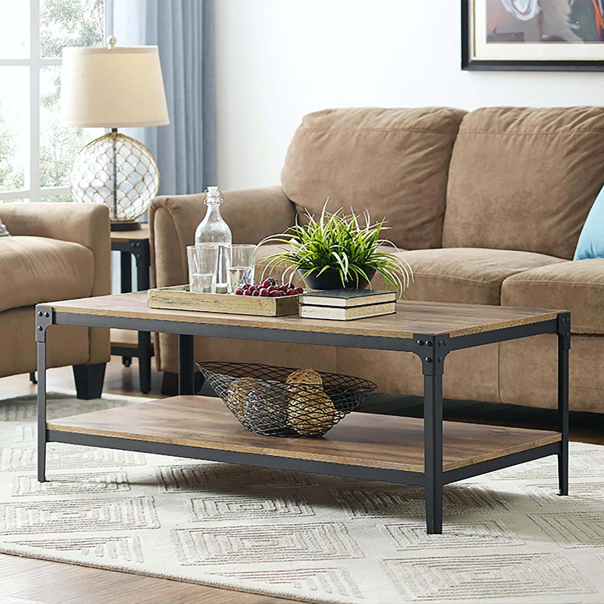 Ft Myers Living Room Angle Iron Rustic Wood Coffee Table - Barnwood  WEDC46AICTBW Walter E. Smithe Furniture + Design