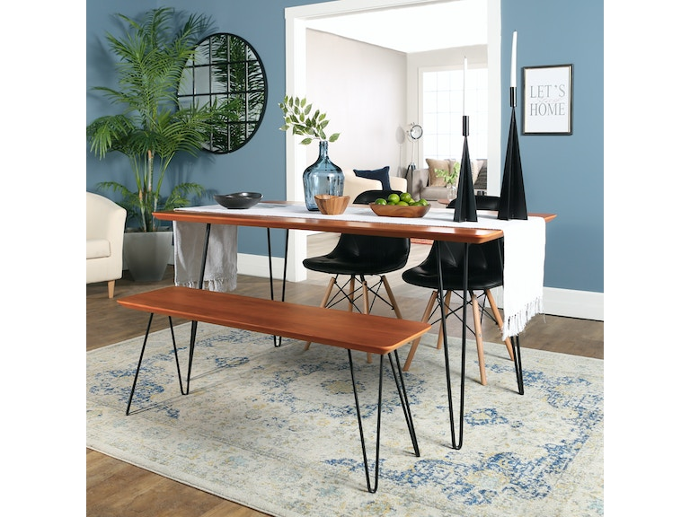 Ft Myers Contemporary Mid Century Modern Square Hairpin 4 Piece Dining Set With Eames Chairs