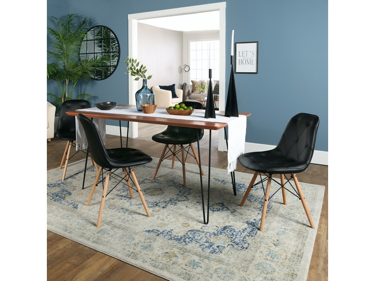 Ft Myers Contemporary Mid Century Modern Square Hairpin 5 Piece Dining Set With Eames Chairs