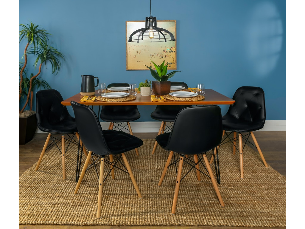Ft Myers Dining Room Contemporary Mid Century Modern Square Hairpin 7 Piece  Dining Set with Eames Chairs WEDC60HPPUWT7 Walter E. Smithe Furniture + ...