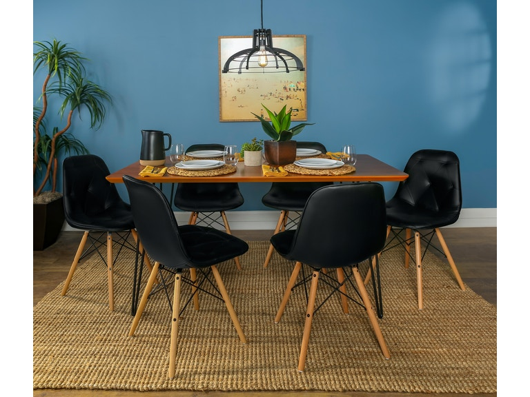 Ft Myers Contemporary Mid Century Modern Square Hairpin 7 Piece Dining Set With Eames Chairs Wedc60hppuwt7
