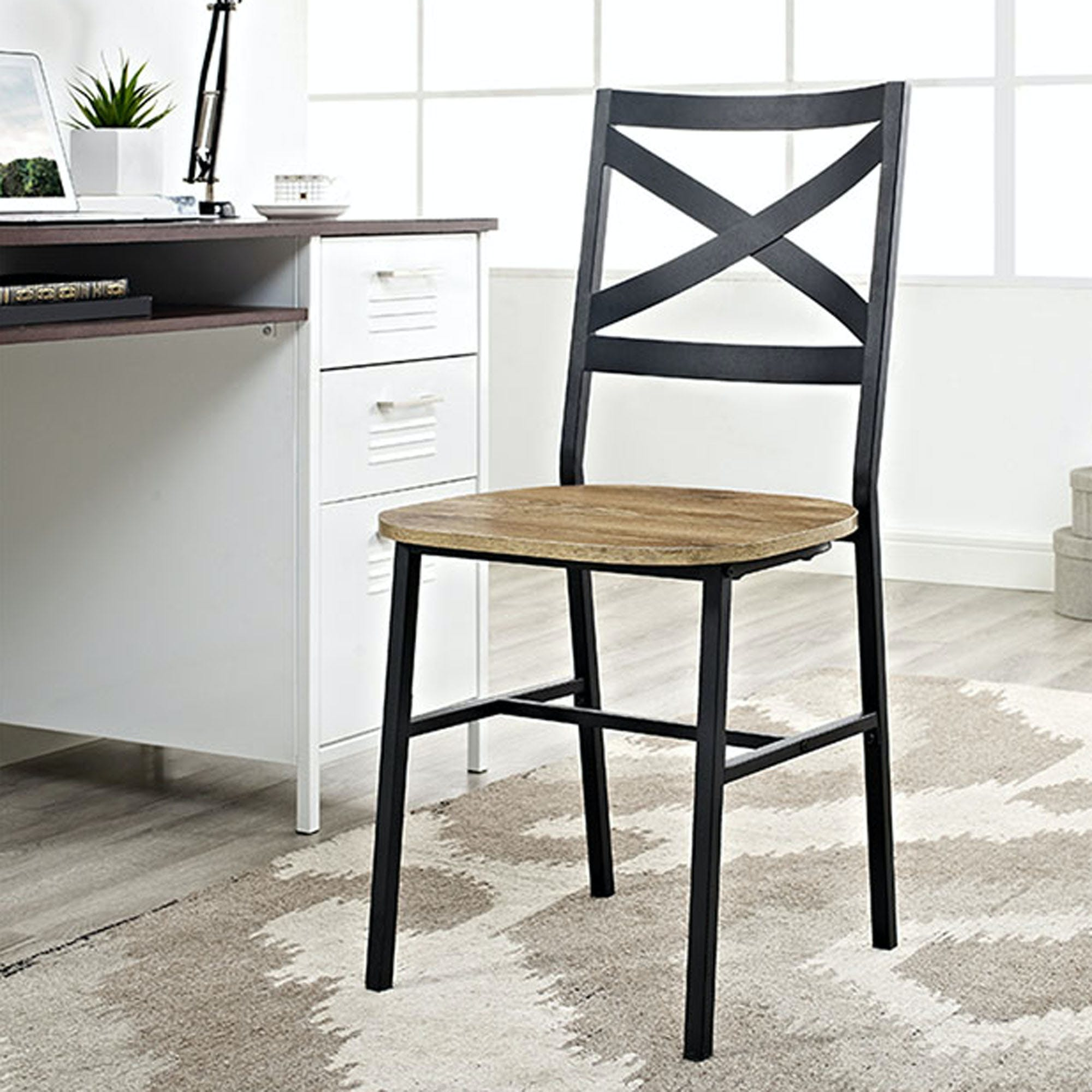 Ft Myers Dining Room Metal X Back Wood Dining Chair Set Of 2 Wedch18ai2bw Walter E Smithe Furniture Design
