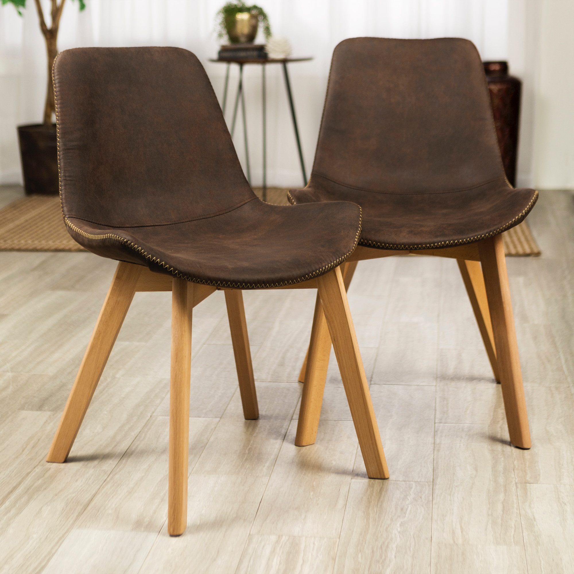 Ft Myers Mid Century Modern Upholstered Home Office Kitchen Dining Side Accent  Chairs, Set Of