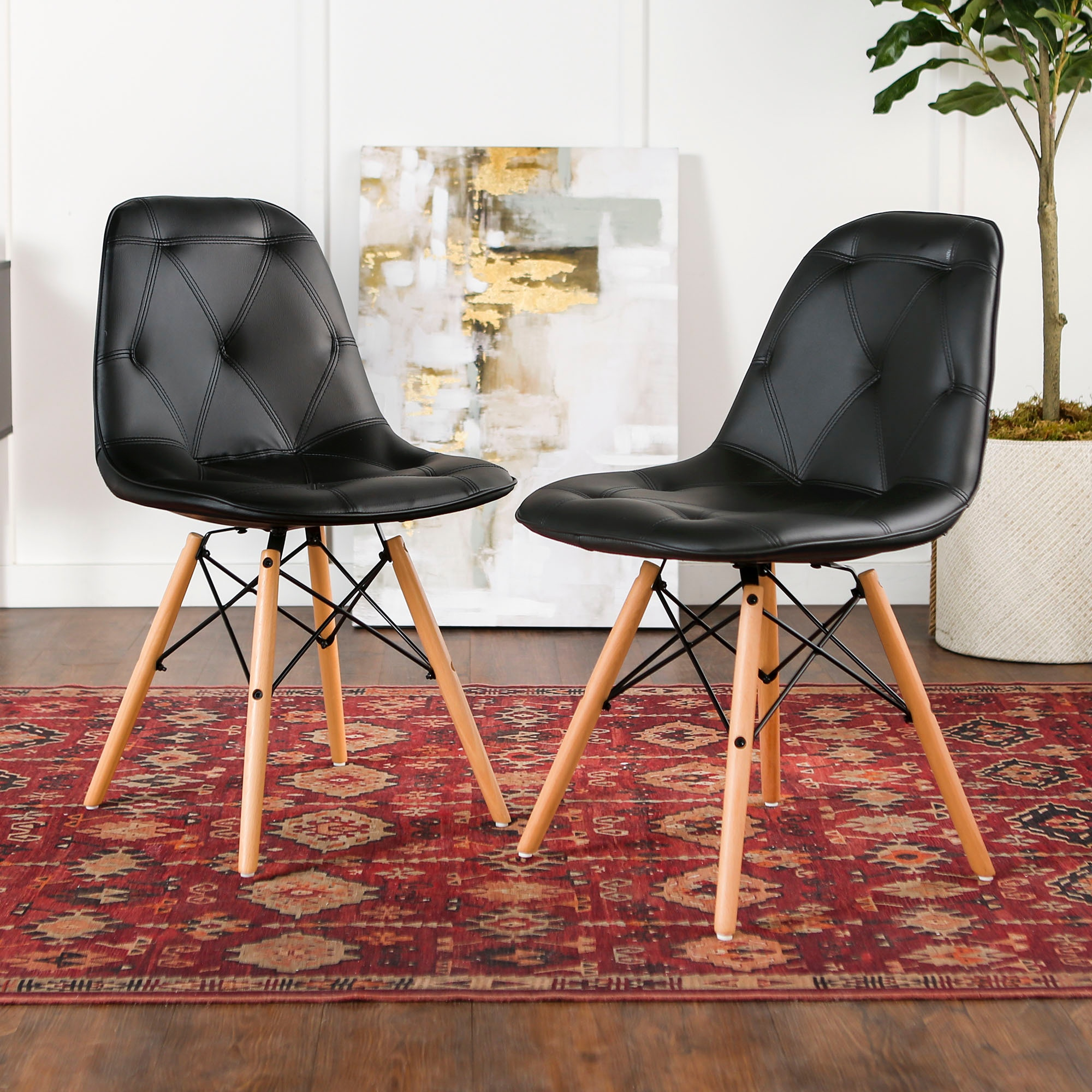 Ft Myers Mid Century Modern Upholstered Faux Leather Eames Home Office  Dining Kitchen Chairs, Set