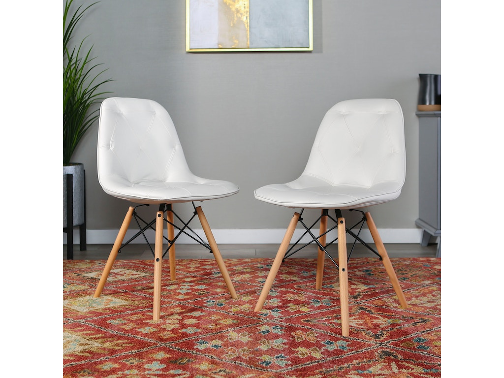 Ft Myers Living Room Mid Century Modern Upholstered Faux Leather Eames Home  Office Dining Kitchen Chairs, set of 2 - White WEDCH18PU2WH Walter E. ...