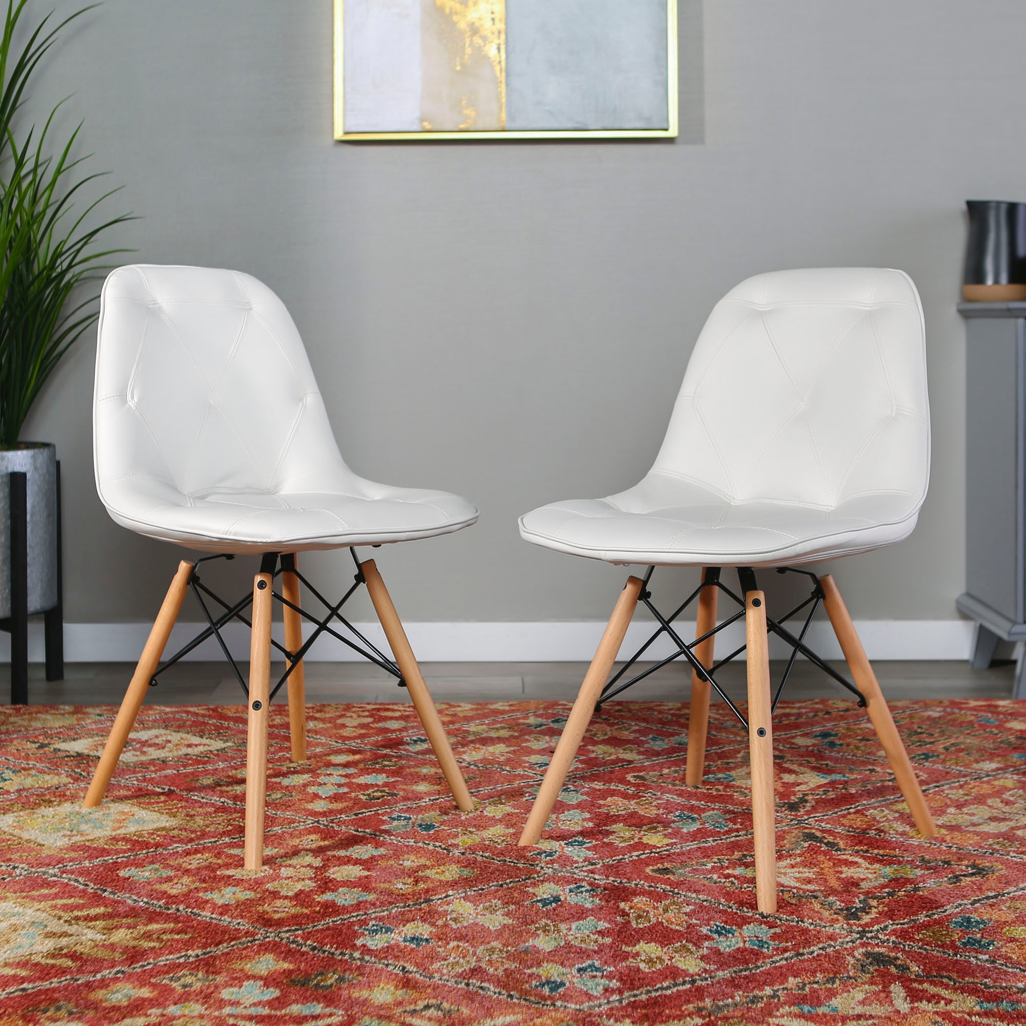 Ft Myers Living Room Mid Century Modern Upholstered Faux Leather Eames Home  Office Dining Kitchen Chairs, set of 2 WEDCH18PU2WH Walter E. Smithe ...