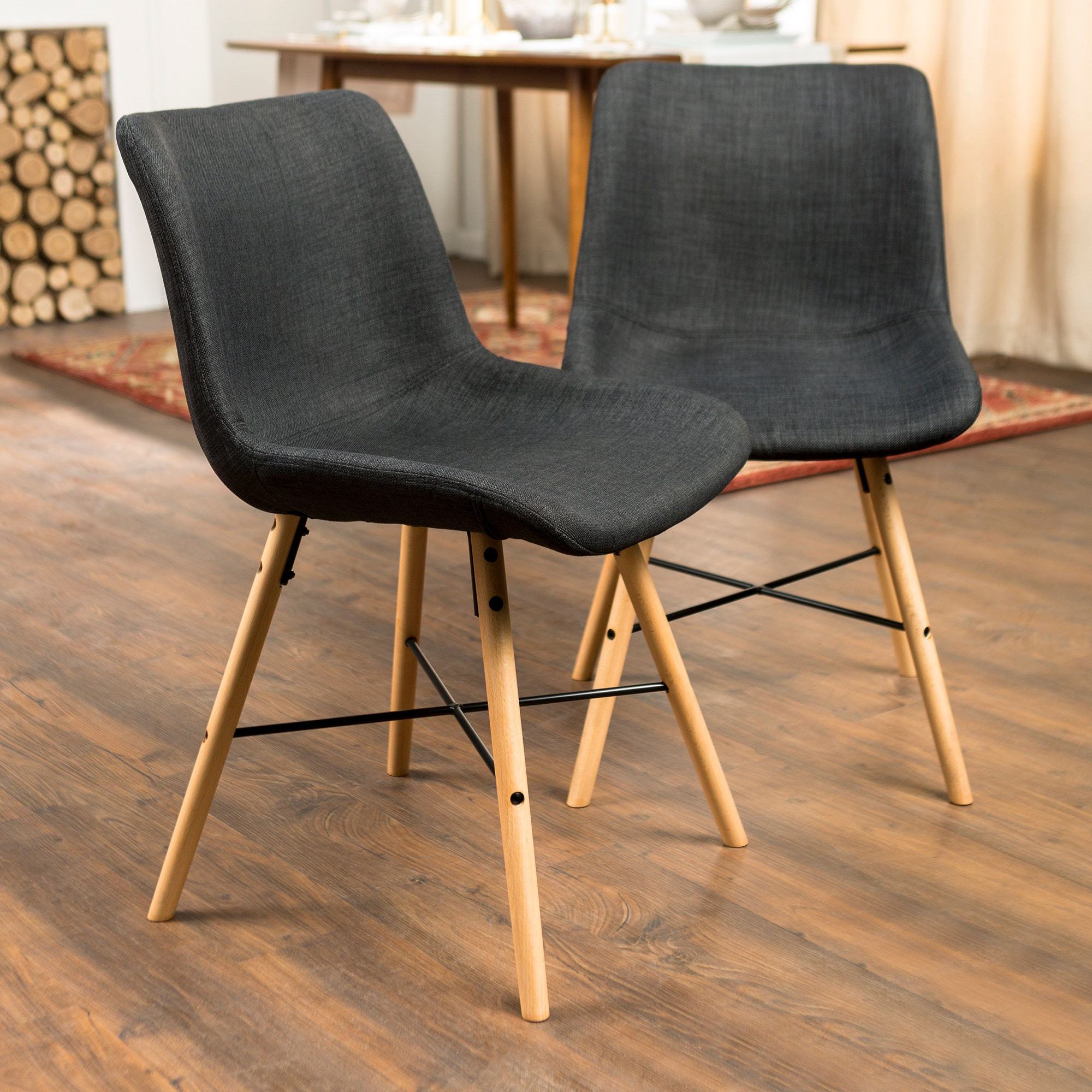 Ft Myers Mid Century Modern Upholstered Linen Kitchen Dining Accent Side  Chair, Set Of 2