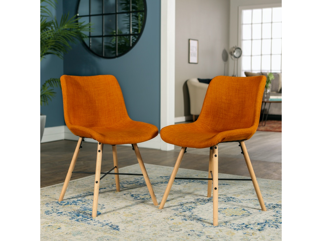 Ft Myers Living Room Mid Century Modern Upholstered Linen Kitchen Dining  Accent Side Chair, set of 2 - Orange WEDCH18SNO2OR Walter E. Smithe  Furniture ...