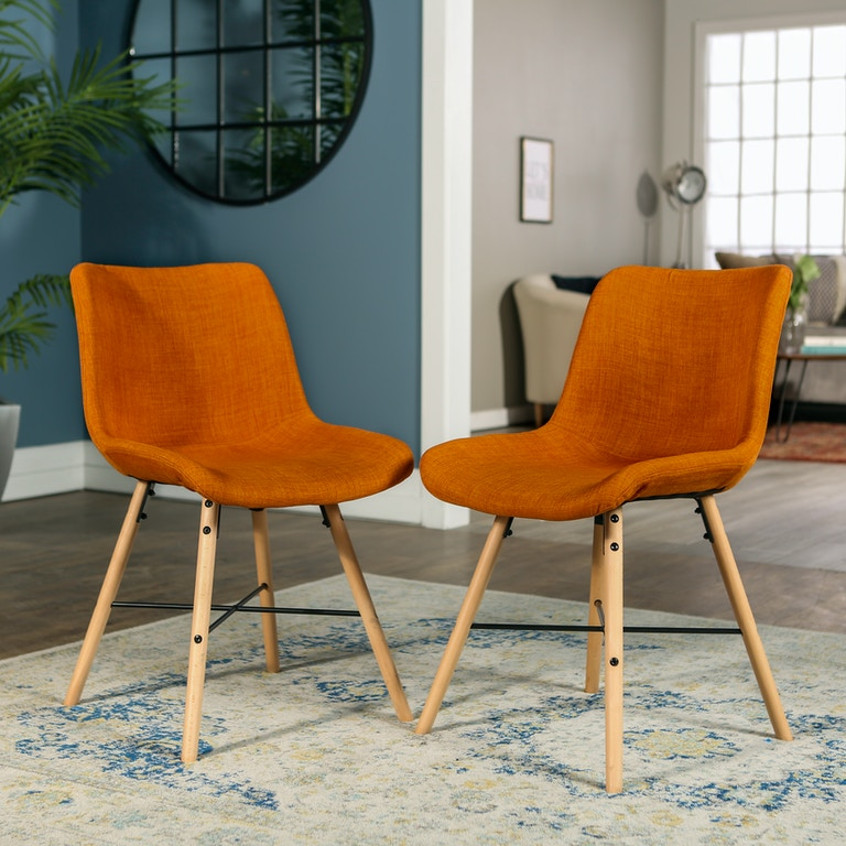 Ft Myers Mid Century Modern Upholstered Linen Kitchen Dining Accent Side Chair Set Of 2