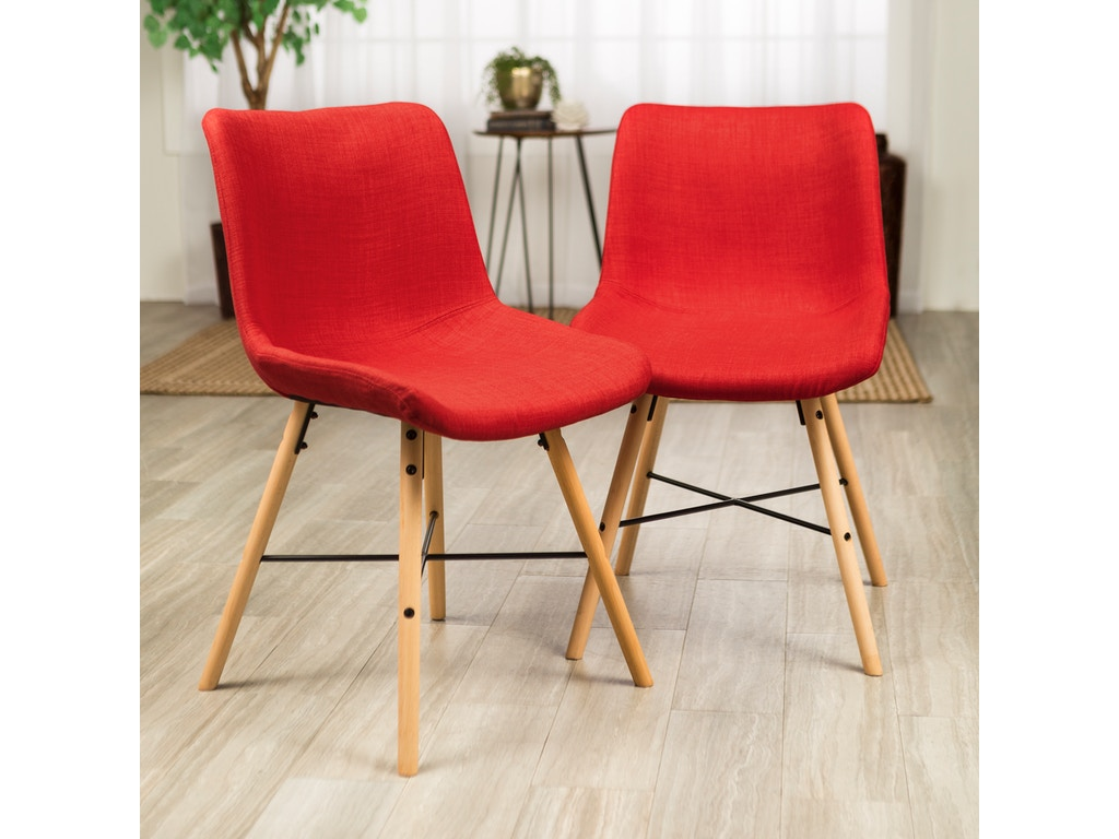 Phenomenal Ft Myers Living Room Mid Century Modern Upholstered Linen Kitchen Dining Accent Side Chair Set Of 2 Red Wedch18Sno2Rd Walter E Smithe Furniture Beatyapartments Chair Design Images Beatyapartmentscom