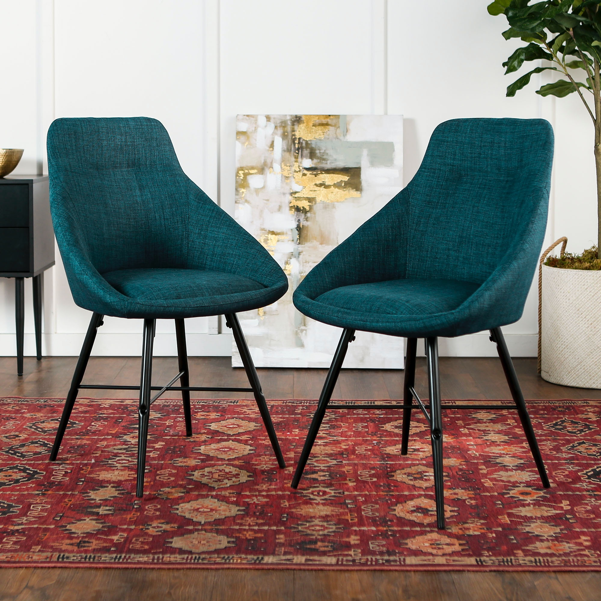 Marvelous Ft Myers Dining Room Mid Century Modern Upholstered Dining Side Accent Chair Set Of 2 Blue Wedch18Urb2Bu Walter E Smithe Furniture Design Caraccident5 Cool Chair Designs And Ideas Caraccident5Info