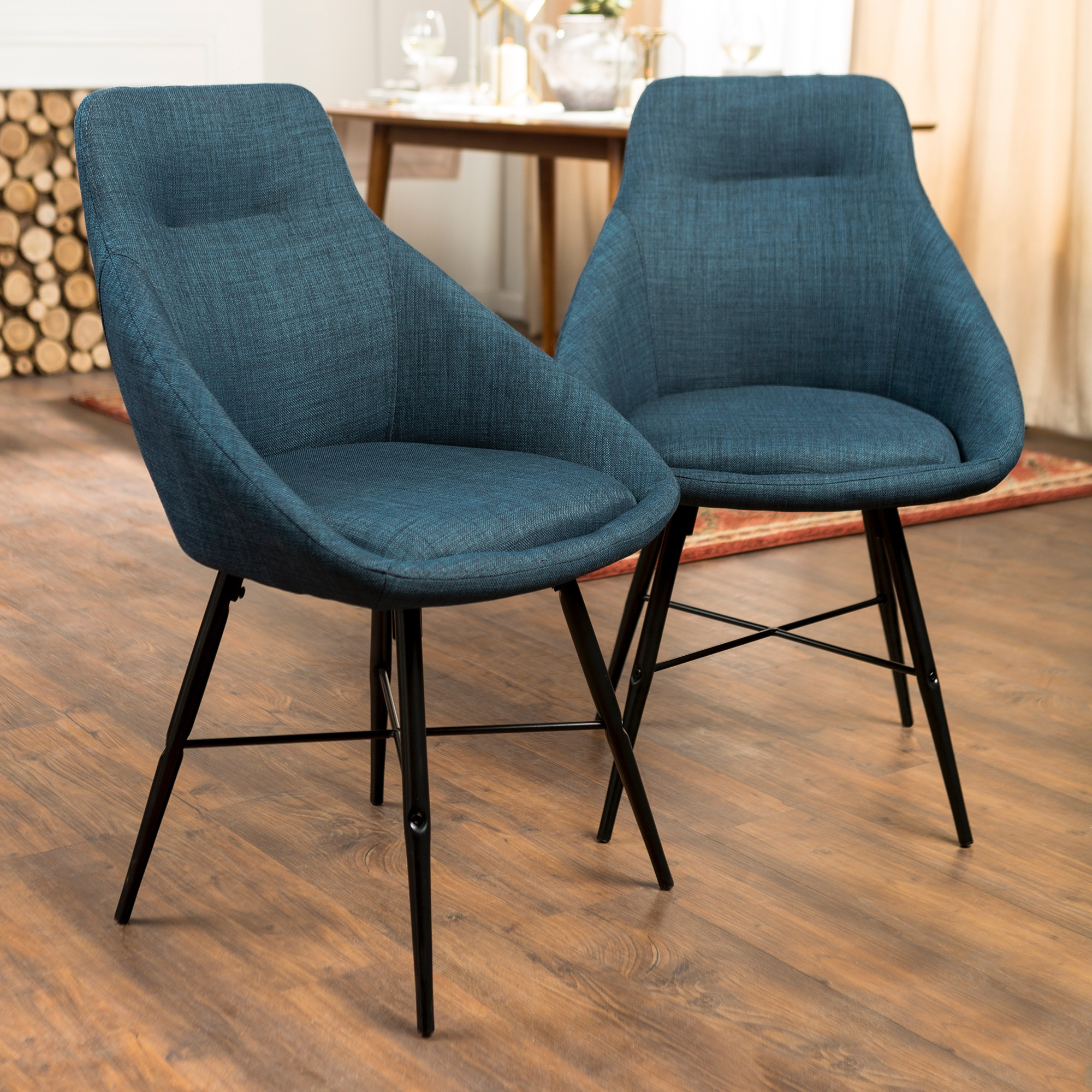 Ft Myers Mid Century Modern Upholstered Dining Side Accent Chair, Set Of 2    Blue