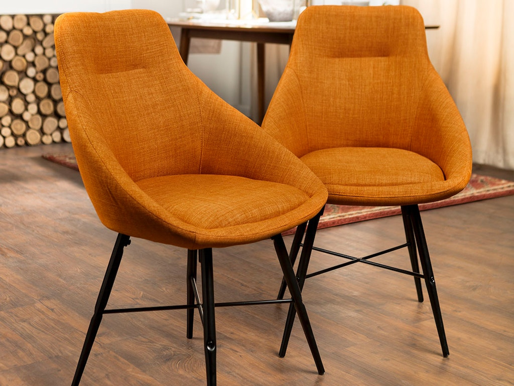 Ft Myers Dining Room Mid Century Modern Upholstered Dining Side Accent  Chair, Set of 2 WEDCH18URB2OR Walter E. Smithe Furniture + Design
