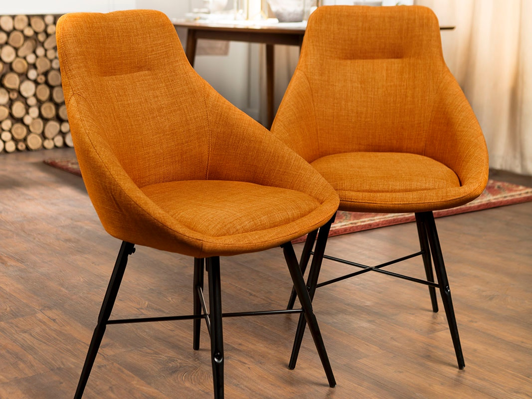 Ft Myers Dining Room Mid Century Modern Upholstered Dining Side Accent  Chair, Set of 2 - Orange WEDCH18URB2OR Walter E. Smithe Furniture + Design