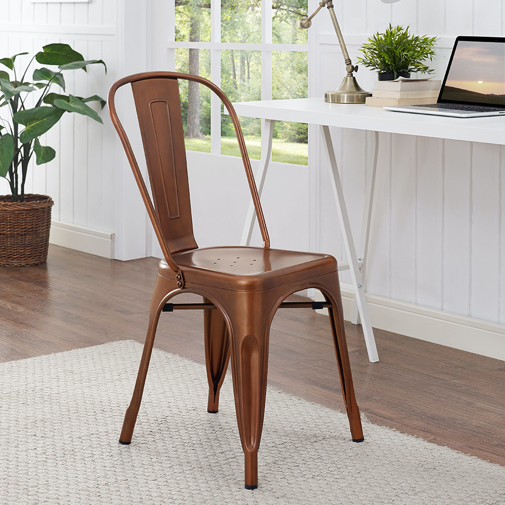 Ft Myers Stackable Metal Cafe Bistro Chair   Bronze WEDCH33MCBR From Walter  E. Smithe Furniture