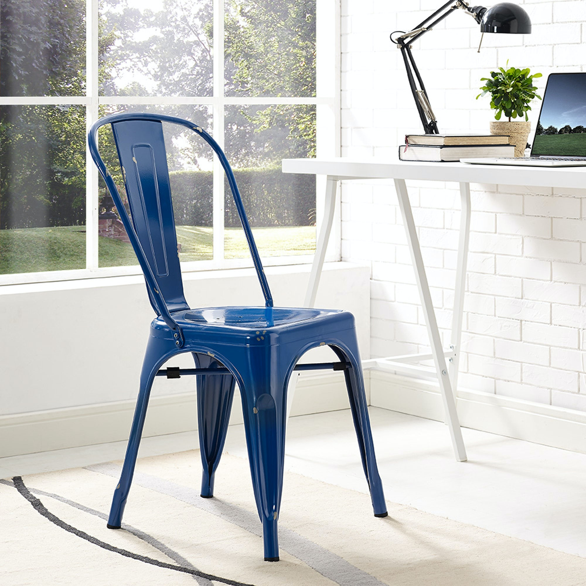 Ft Myers Stackable Metal Cafe Bistro Chair   Navy Blue CH33MCNB From Walter  E. Smithe