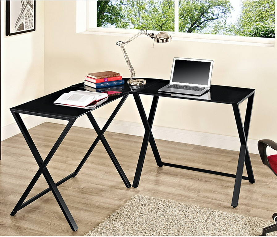 Ft Myers Home Office X-frame Glass And Metal L-shaped Computer Desk  WEDD51X29B Walter E. Smithe Furniture + Design