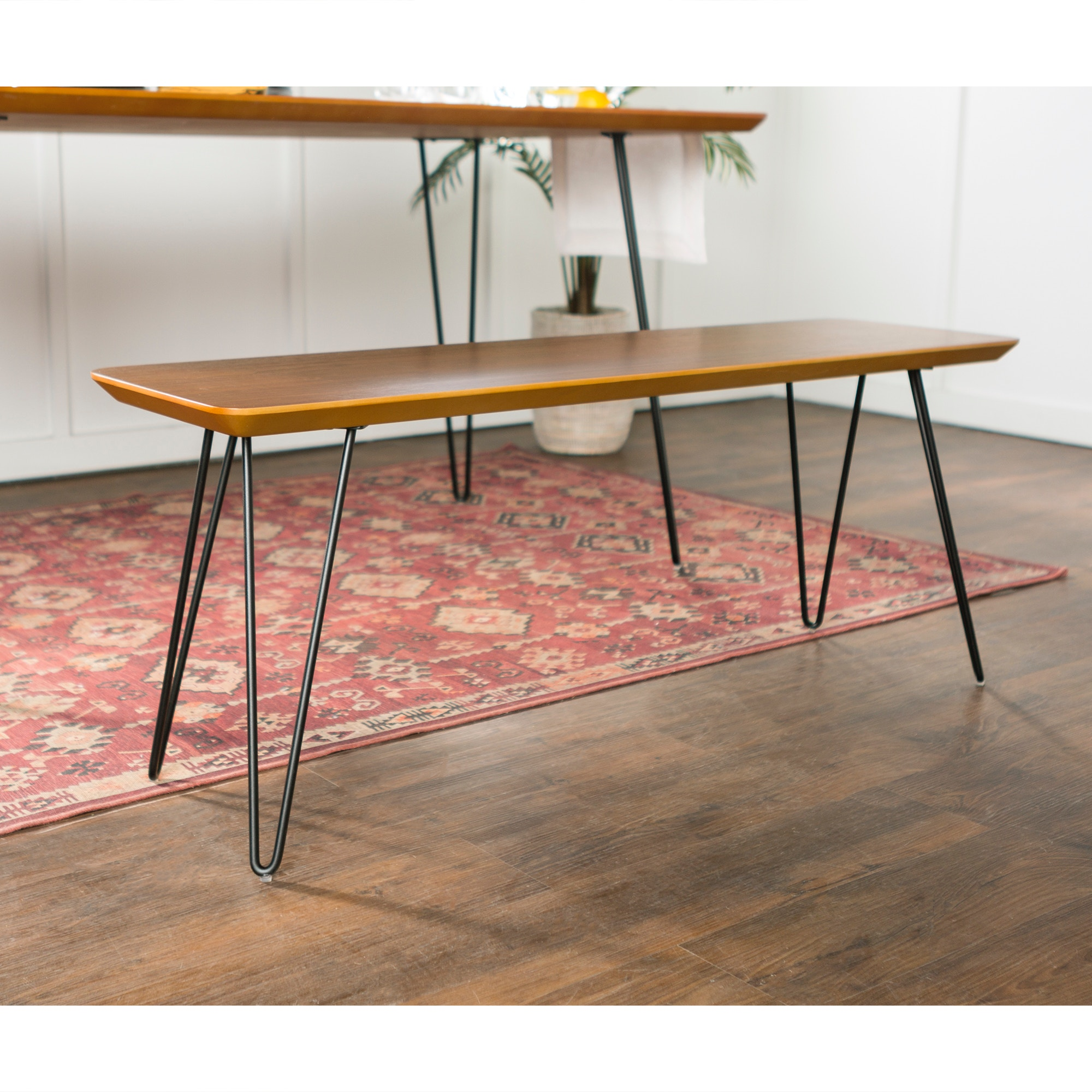Exceptionnel Ft Myers Mid Century Modern Hairpin Entryway Dining Bench WEDDB56HPDWT From  Walter E. Smithe Furniture