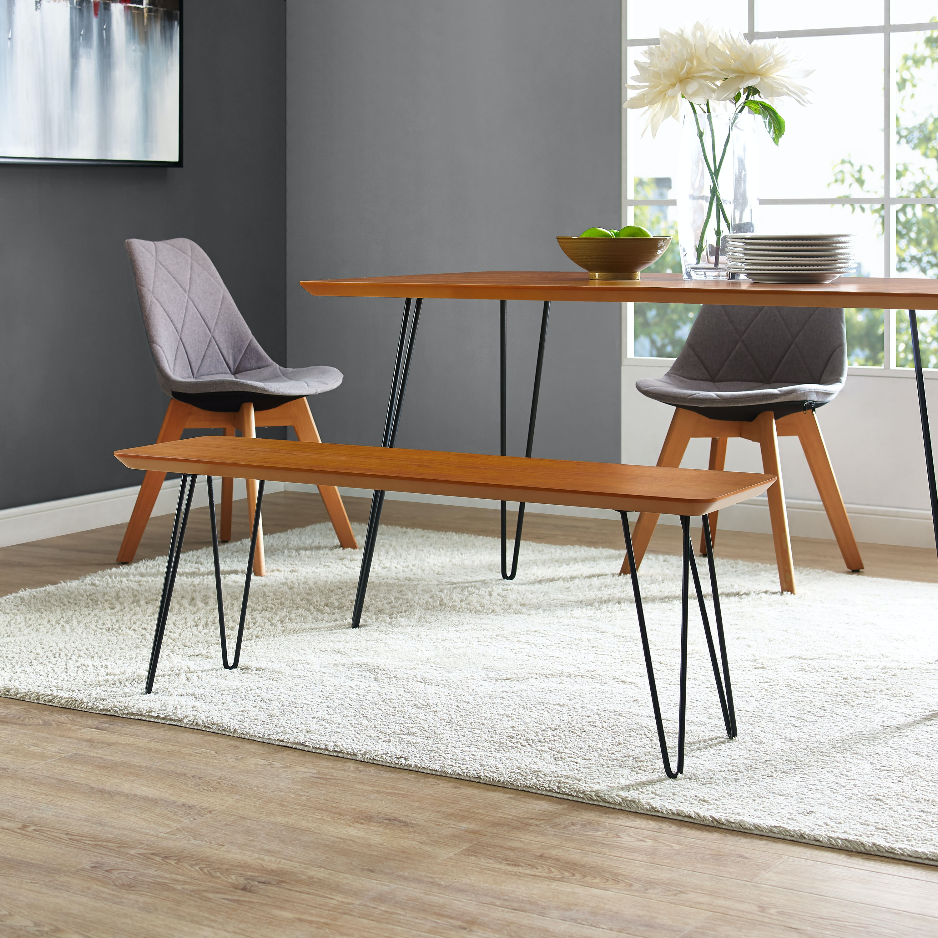 Genial Ft Myers Mid Century Modern Hairpin Entryway Dining Bench   Walnut  WEDDB56HPDWT From Walter E.