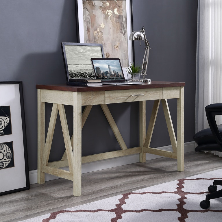 Ft Myers 46 Rustic Modern Farmhouse A Frame Two Tone Computer Desk With Drawer
