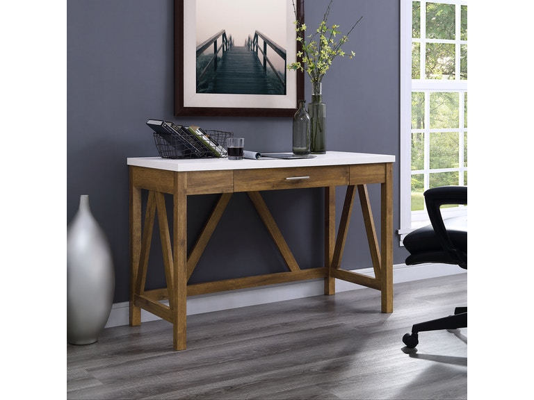46 Rustic Modern Farmhouse A Frame Two Tone Computer Desk With