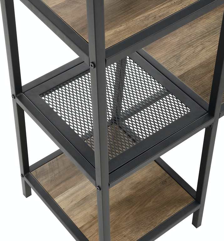 Ft Myers Accessories 72\'\' Modern Industrial Angled Side Metal and Wood Hall  Tree with Storage WEDHT72ASSRO Walter E. Smithe Furniture + Design