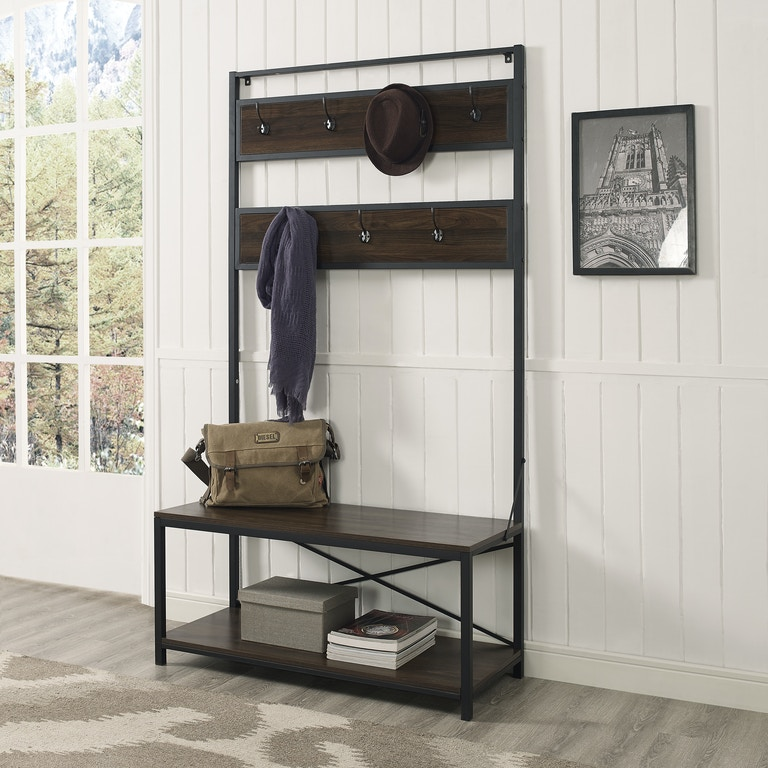Ft Myers Metal And Wood Storage Coat Rack Hall Tree With Bench Dark Walnut