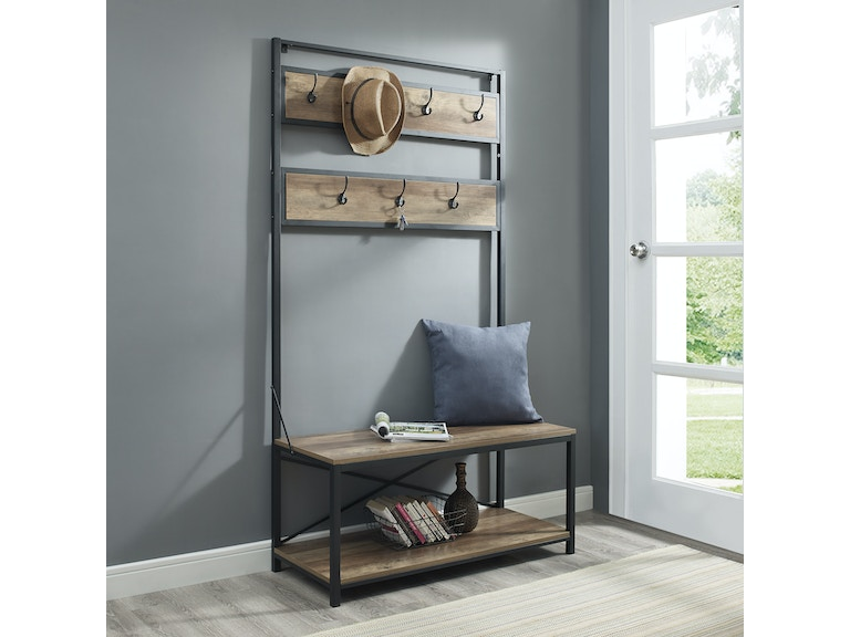 Industrial Metal And Wood Storage Coat Rack Hall Tree With Bench