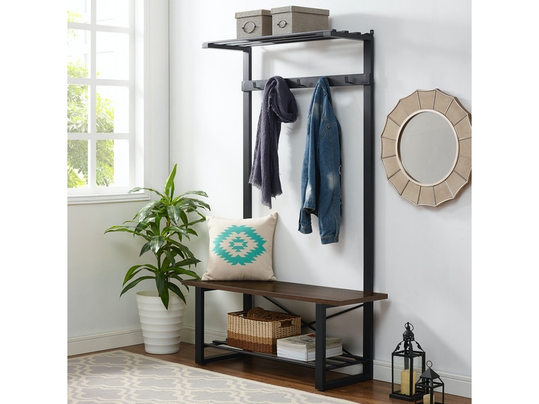 Urban Industrial Blend Metal And Wood Coat Rack Storage Hall Tree